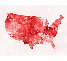 USA map in watercolor red Photographic Print