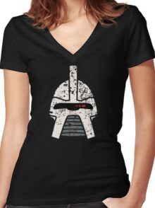 Cylon Erosion Women's Fitted V-Neck T-Shirt