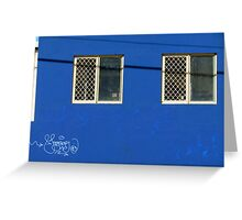 Blue wall…with neat graffitti Greeting Card
