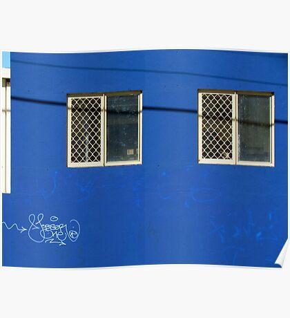 Blue wall…with neat graffitti Poster