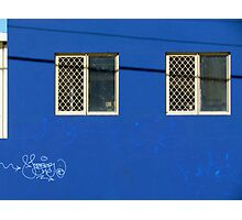 Blue wall…with neat graffitti Photographic Print