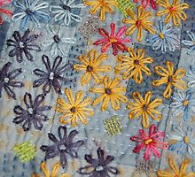 Embroidered Flowers by julie bull