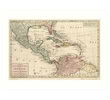 Map of the West Indies Caribbean by Isaak Tirion (1765) Art Print