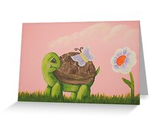 Cute Turtle with butterfly and flower Greeting Card