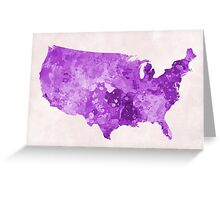 USA map in watercolor purple  Greeting Card