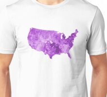 USA map in watercolor purple  Unisex T-Shirt