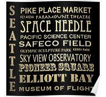 Seattle Washington Famous Landmarks Poster