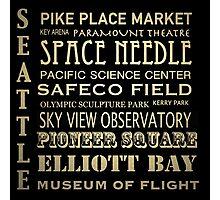 Seattle Washington Famous Landmarks Photographic Print