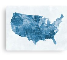 USA map in watercolor blue  Canvas Print
