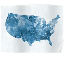 USA map in watercolor blue  Poster