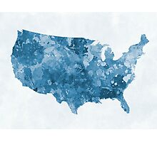 USA map in watercolor blue  Photographic Print