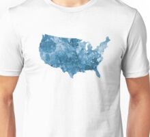 USA map in watercolor blue  Unisex T-Shirt