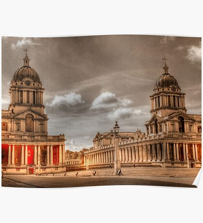 Sepia Old Royal Naval College - Greenwich Poster
