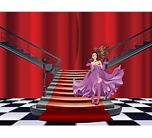 Girl Stands near Stairs Photographic Print