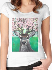 Apple Blossom Deer; Hooves with da Fur Women's Fitted Scoop T-Shirt