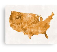 USA map in watercolor orange Canvas Print