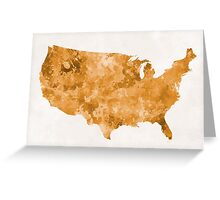 USA map in watercolor orange Greeting Card