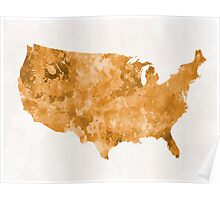 USA map in watercolor orange Poster