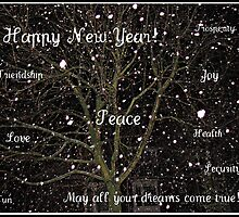Falling Snow New Year Greeting Card - To All My RedBubble Friends by BlueMoonRose