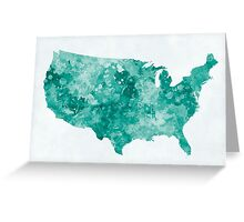 USA map in watercolor green Greeting Card