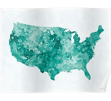 USA map in watercolor green Poster