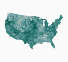 USA map in watercolor green One Piece - Short Sleeve