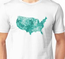 USA map in watercolor green Unisex T-Shirt
