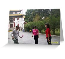 People Enjoying Exersicing With Kicky Thing in Park Greeting Card