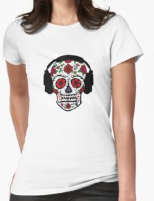 Sugar Skull with Headphones Womens Fitted T-Shirt