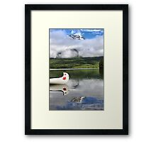 Maple Leaf Canoe Reflection Framed Print