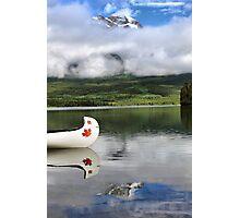 Maple Leaf Canoe Reflection Photographic Print