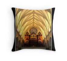 St. Joseph's Cathedral Choir Loft - Organ Pipes Throw Pillow
