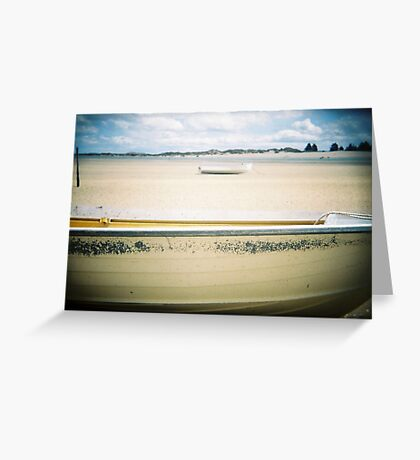 Holga Yellow boat - beach shots - Tasmania, Australia Greeting Card