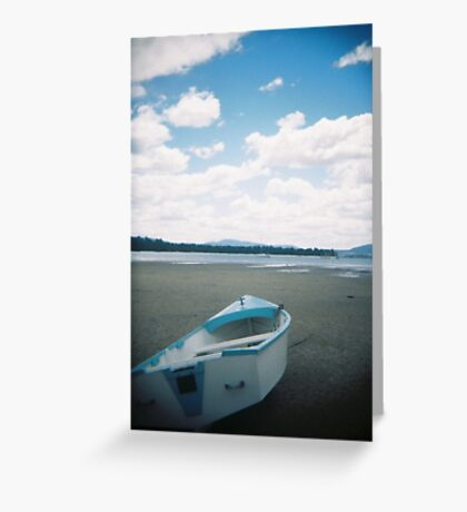 Holga Blue Boat - Beach Shots - Tasmania, Australia Greeting Card