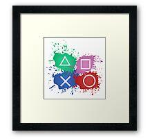 Playstation Button Splat Print Framed Print
