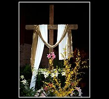 Easter - Empty Cross with sash by Rose Santuci-Sofranko