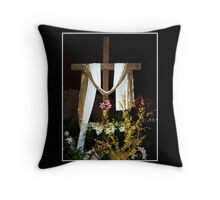Easter - Empty Cross with sash Throw Pillow