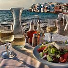 Greek Wine and Salad in Little Venice, Mykonos by InterfaceImages
