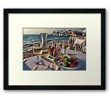 Greek Wine and Salad in Little Venice, Mykonos Framed Print