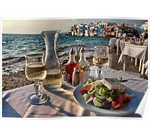 Greek Wine and Salad in Little Venice, Mykonos Poster