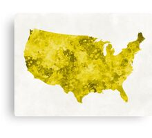 USA map in watercolor yellow Canvas Print