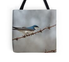 Tree Swallow on Barbed-wire Tote Bag