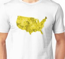 USA map in watercolor yellow Unisex T-Shirt