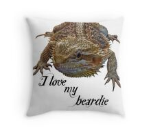 i love my beardie Throw Pillow