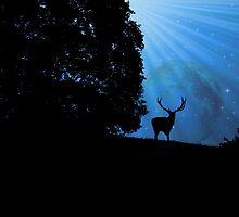 Moon & Deer - JUSTART © by JUSTART