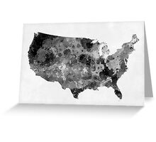 USA map in watercolor black and gray Greeting Card