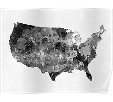 USA map in watercolor black and gray Poster