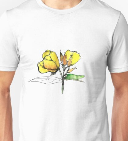 stylise quick watercolor sketch of Oenothera Unisex T-Shirt