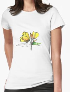 stylise quick watercolor sketch of Oenothera Womens Fitted T-Shirt
