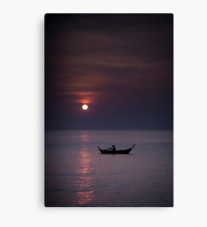 Rowing into sunset Canvas Print
